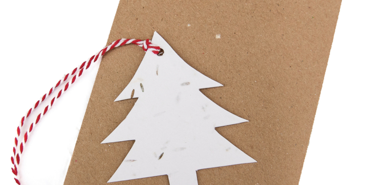 Green Planet Paper Christmas tree gift tag red string