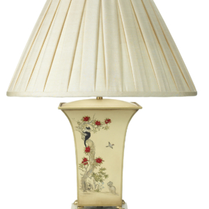 T3 028 BB Square Tole Urn Lamp Hand Painted Design