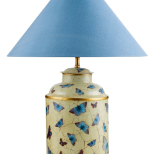 T3 031 BB Small Round Hand Painted Tea Caddy Table Lamp with Holly Blue Butterflies