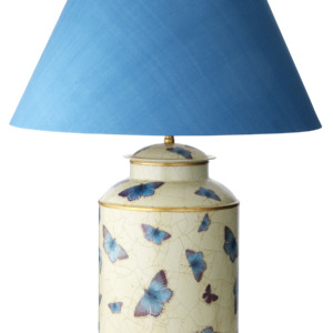 T3 032 Large Round Hand Painted Tea Caddy with Holly Blue butterflies