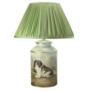 T3 032 CS Large Round Tea Caddy Hand Painted Charles Spaniel
