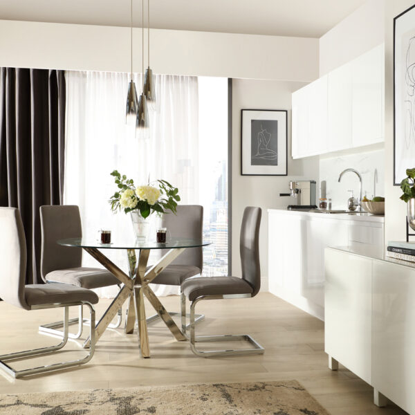 Furniture And Choice Plaza Table and Perth Grey Velvet Chairs Designer Living SS21 Main Square s469 99 7230592
